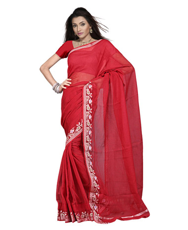 Kota Doria Resham-Work Border Pure Cotton Saree and Blouse -114