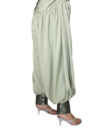 Punjabi style Light Green Semi Patiala Salwar With Green Brocade Border