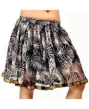 BollyWood Style Black-White Floral Print Short Chiffon Skirt 276