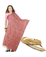 Buy Ethnic Jamawar Stole n Get Colourful Payal Free