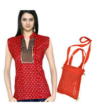 Buy Silver Print Cotton Top n Get Shoulder Bag Free