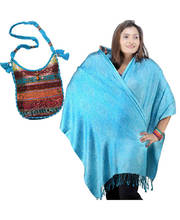 Buy Turquoise Stole n Get Work Shoulder Bag Free