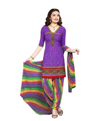 DarkViolet Printed Unswitched  Cotton Salwar Material