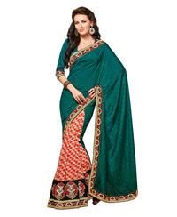 Dlines Enterprises  Green and cream printed bordered saree