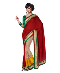 Dlines Enterprises Red And Yellow Gold Borderd saree