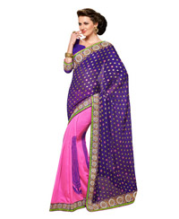 Dlines Enterprises  purple & pink printed border saree