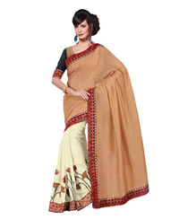 Dlines Enterprises Cream And Glod floral Embroidered Saree