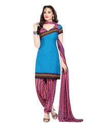 DodgerBlue  Printed Unawitched  Cotton Salwar Material