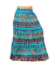 Fashionable Motif Print Ethnic Turquoise Cotton Long Skirt 262