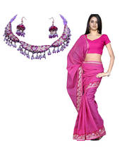 Kota Doria Majenta Colored Handloom Cotton Saree (Necklace Free)