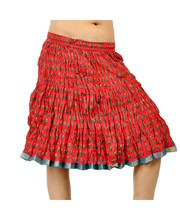 Rajasthani Hand Block Floral Print Exclusive Cotton Short Skirt 255