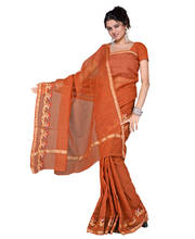 Rajasthani Kota Doria Golden Brown Cotton Saree and Blouse 133