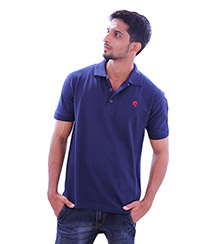 Rodeio Mens Dark Blue Collared T-Shirt
