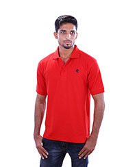 Rodeio Mens Red Collared T-Shirt