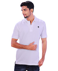 Rodeio Mens White Collared T-Shirt