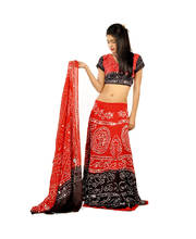Sequin Work Jaipuri Bandhej Lehanga Red Choli Set
