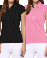 Softwear Black-Pink 7-Button Collared T-Shirt Pack of 2