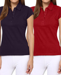 Softwear Dark Purple-Red 7-Button Collared T-Shirt Pack of 2