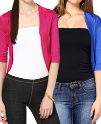 Softwear Fuchsia Pink-Royal Blue Viscose Shrug Combo of 2