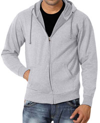 Softwear Mens Grey Melange Plain Hoodies With Round Neck T-Shirt