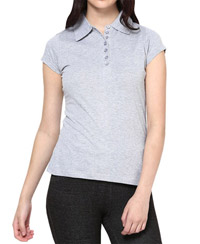 Softwear Ravishing Gray Melange 7-Button Collared T-Shirt