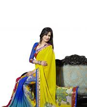 Triveni Beautiful Foliage Patterned Chiffon Saree