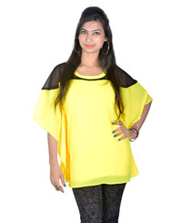 Vivaa Yellow Georgette Kaftan