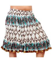 White Sea Green Floral Design Stylish Cotton Short Skirt 244