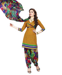 Yellow Printed Unswitched Cotton Salwar Material (Code 8007)