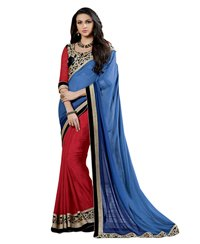 Dlines Enterpirses -blue And  Red heavy bordered saree